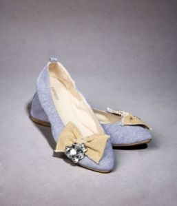Express Grey with Beige & Rhinestone Bow Flats